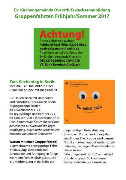 Zum Kirchentag nach Berlin – 24.-28.05.2017