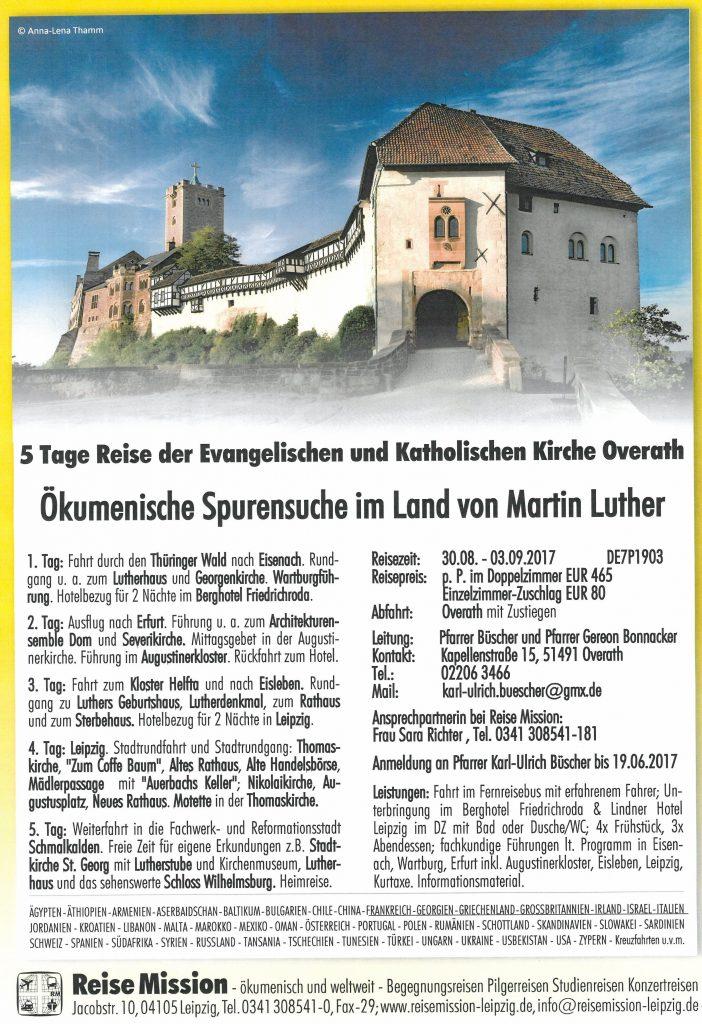 Ökumenische Spurensuche im Land von Martin Luther 30.08.-03.09.2017