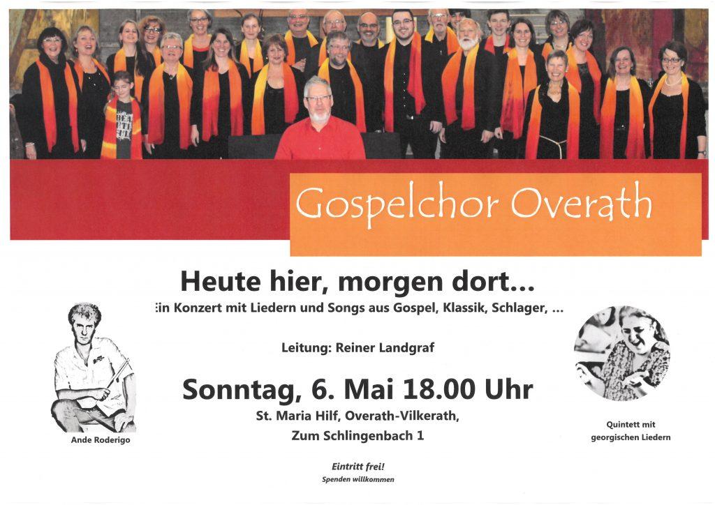 Konzert Gospelchor – Neuer Termin – 6. Mai 2018