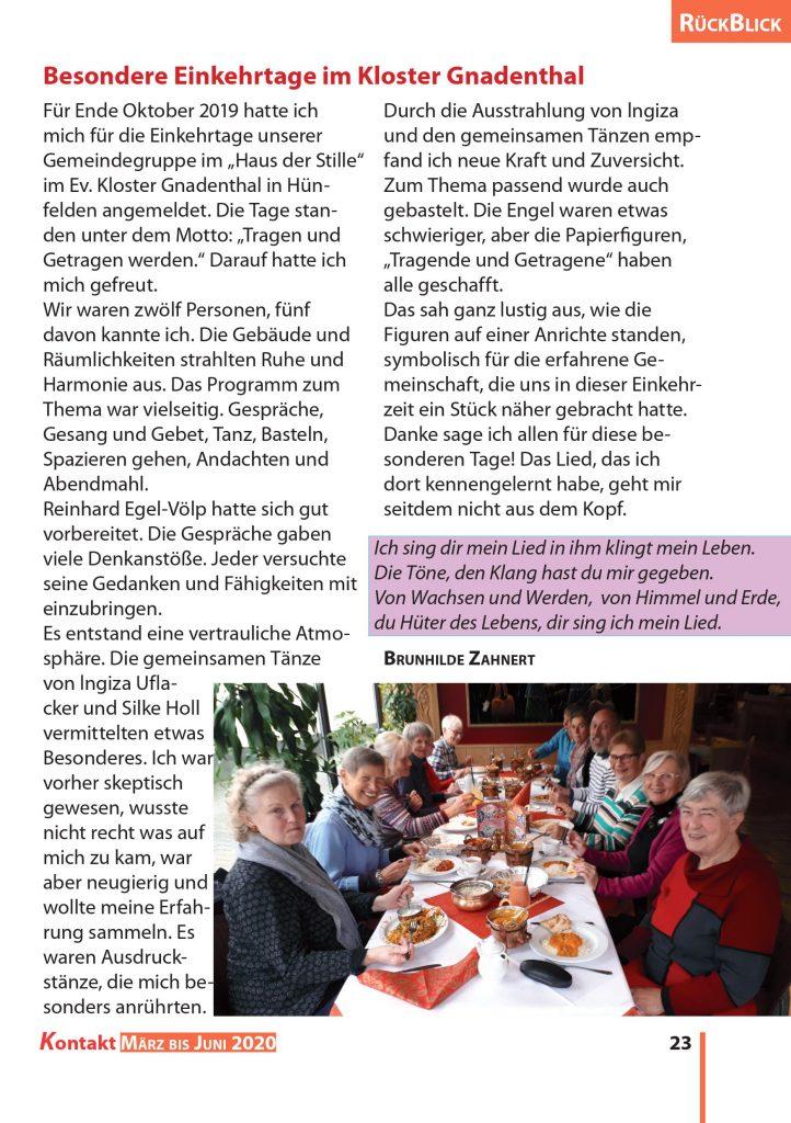 Besondere Einkehrtage im Kloster Gnadenthal